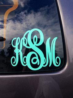 Monogrammed Car Decal by PreppyBowsandSass on Etsy https://www.etsy.com/listing/208289836/monogrammed-car-decal