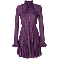 Elie Saab metallic pleated dress (4 525 520 LBP) ❤ liked on Polyvore featuring dresses, black, elie saab, metallic dress, elie saab dresses and pleated dress