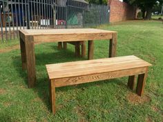 Reclaimed Oregan pine table and benches.