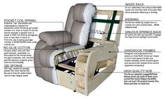 White Home Comfortable Recliner Sofa Chair Furniture & Manual Recliner Mechanism ZOY-91490