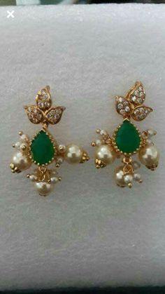 22 Carat Gold, Gold Earrings Designs, Gold Jewelry, Jewellery, Jewelry Stand, Designer Earrings, Indian Jewelry, Dangles, Pearl Earrings