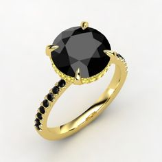 Round Black Diamond 14K Yellow Gold Ring with Yellow Sapphire & Black Diamond - Perspective