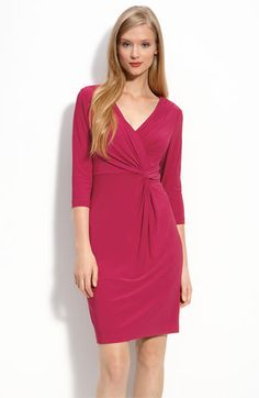 Adrianna Papell Knot Front Draped Jersey Dress available at #Nordstrom The color livens up the normally black and grey office!