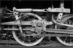 Dampflokomotive Räder Schwarz Weiß