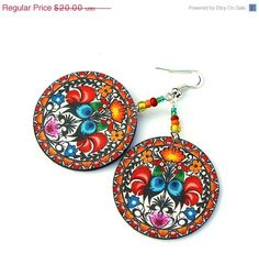 Folk Rooster polish folk motif Earrings Round and Colorful boho style handmade in Poland