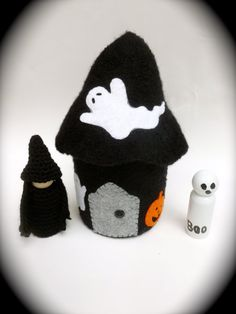 Halloween house spooky felted wool house wood peg by greenmountain