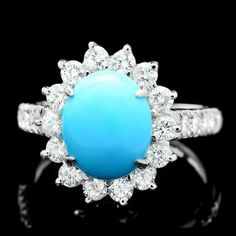 14k Gold 2.50ct Turquoise 1.20ct Diamond Ring