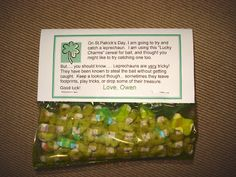 """HAHA Holly I beat you to this. So cute! Magic Leprechan food to give your child's friends. This site also a """"trap"""" to build to catch a leprechan. No leprechan can be found in the morning but you do find """"gold bars"""" of chocolate and """"pennies"""" as well. So so so cute!"""