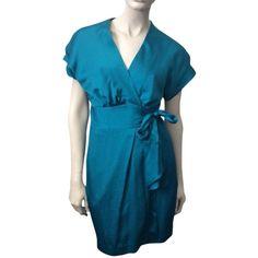 Pre-owned Diane Von Furstenberg Kimoni Mini Dress (210 CAD) ❤ liked on Polyvore featuring dresses, blue, sleeved dresses, blue dress, short sleeve dress, short blue dresses and mini dress