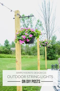 Add Outdoor String Lights on DIY Posts for a beautiful entertaining space and convenient outdoor lighting. Easy weekend project!  #LandscapingDIY