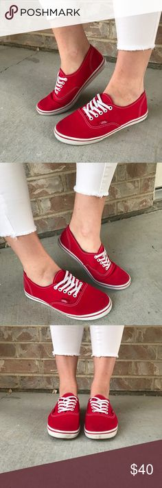 Authentic Lo Pro Vans in Cherry Red These Authentic Lo Pro Vans are durable, comfortable, and most of all, timeless!! I am the only person who has worn them and my feet do not sweat, I do not have stinky feet, and I always wear socks (no-shows)! These Cherry Red Authentics are perfect for adding a color-pop to any casual outfit. They are a few years old but worn less than ten times (gift from an ex). They are lightly worn and very easy to clean. Vans Shoes Sneakers