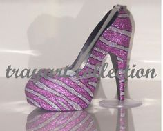 Pink & Silver Bling Zebra Animal Print High Heel Shoe TAPE DISPENSER Stiletto Platform - office supplies - trayart collection. $29.50, via Etsy.