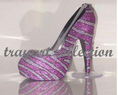 Pink & Silver Bling Zebra Animal Print High Heel Shoe TAPE DISPENSER Stiletto Platform - office supplies - trayart collection. $29.50, via Etsy.