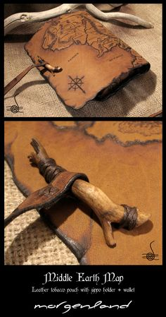 """Middle Earth Map"" Leather tobacco pouch Another version of the previous pouch…"