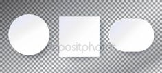 Frames paper set. White frames paper 3D on transparent checkered background. Clip art. White paper decoration, paper stickers, labels, sign vector. Vector illustration Advertising marketing business card gift poster banner