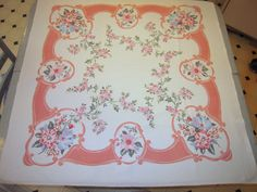 Vintage Tablecloth Pink & Blue Morning Glories by unclebunkstrunk