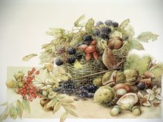 Wonderful Marjolein Bastin Full Color Print Entitled Blackberries In A Basket *