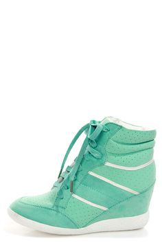 Bamboo Bethany Mint Perforated High Top Wedge Sneakers - $49.00