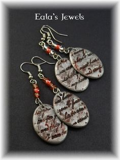 Blood love letters earrings by Shatiel85.deviantart.com on @DeviantArt