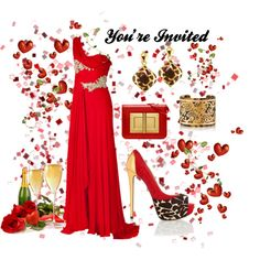 """""""Black-Tie Event - Red Ensemble"""" - created by CzeCze.  Entered in the """"Dress The Guests At Kim Kardashian's Wedding"""" contest on Polyvore:  """"Kim Kardashian's big day is only five days away! Help her guests find a black-tie look that is perfect for an Italian wedding.""""  #kimandkanye"""