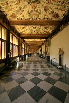 Uffizi Gallery...home of the Medici's art collection.  Florence, Italy
