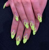 green nail designs 46 Cute Green Nail Art Designs Ideas To Try Nails Art Neon Green Nails, Yellow Nails Design, Green Nail Designs, Yellow Nail Art, Neon Nails, Nail Art Designs, Colorful Nails, 3d Nails, Pink Nail