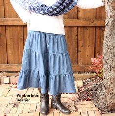 Long Tiered Denim Skirt made by Kimberlees Korner Knitting Books, Free Knitting, Knitting Projects, Knitting Patterns, Sewing Projects, Denim Skirt, Midi Skirt, Blanket Yarn, Tiered Skirts