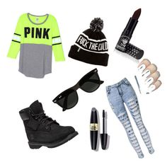 """""""Freak"""" by swag-is-my-name on Polyvore featuring Manic Panic, Timberland, Ray-Ban and Max Factor"""