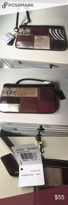 ⭐️NWT Coach multi patchwork wristlet ⭐️ NWT Coach multi patchwork wristlet. Unique style and design! Still has paper stuffing on the inside! Coach Bags Clutches & Wristlets
