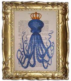 Octopus with golden crown- ORIGINAL ARTWORK Hand Painted Mixed Media on 1920 famous Parisien Magazine 'La Petit Illustration'    octopus with golden crown  mix media