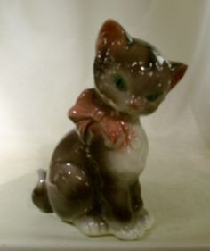Royal Copley brown ceramic cat 8h