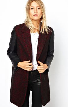 Coat With Leather-Look Sleeves