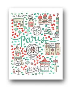 Paris Map Print by Evelyn Henson