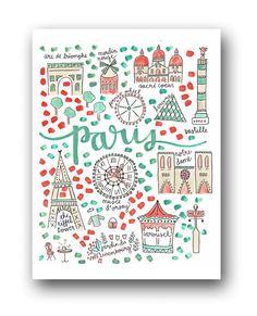 Paris Map Print by Evelyn Henson