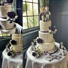 Bespoke bodice style wedding cake ,with unique topper x