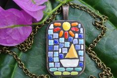 Sail Boat under the Sun by MosaicJewelrybyCrys on Etsy, $30.00