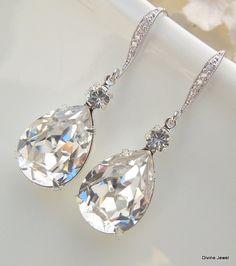 Bridal Earrings,Bridal Wedding Earrings,Crystal Bridal earrings,Wedding Bridal jewelry,Swarovski Crystal,Crystal Drop Bridal Earrings,ARIA