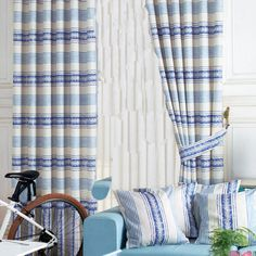 Mediterranean Blue Striped  Curtains  #curtains #decor #homedecor #homeinterior #blue Decor, Blue Striped Curtains, Striped, Mediterranean Blue, Striped Curtains, Home Decor, Blue
