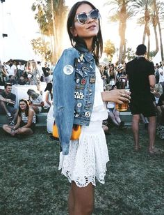 Patched denim jacket, white summer dress and Fendi jungle sunglasses - we love the look!