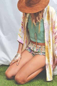 Boho floral ruffled edge shorts, crochet top, tie-dye kimono, leather hat.. Perfect