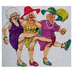 0 point de croix 3 vieilles femmes dansant le french cancan - cross stitch old ladies dancing french cancan