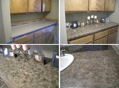 Make your counter tops look like they are granite by painting them with a natural stone looking pattern. Painting a faux granite counter top can be an easy way to improve the look of your counters. Painting Laminate Countertops, Cheap Countertops, Kitchen Countertops, Formica Laminate, Painting Cabinets, Diy Kitchen Island, Diy Kitchen Storage, Kitchen And Bath, Kitchen Stuff