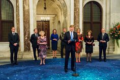 King Willem-Alexander and Queen Maxima hold the traditional New Year's receptions in the Royal Palace in Amsterdam.
