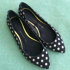 Gap Leather Polka Dot Flats These adorable navy leather polka dot flats are fun for spring! Only worn twice. Please see last two photos showing the blemishes of the polka dots. Please let me know if you have any questions! GAP Shoes Flats & Loafers