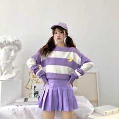 Pastel Outfit, Purple Outfits, Colourful Outfits, Kpop Outfits, Korean Outfits, Girl Outfits, Fashion Outfits, Kawaii Outfit, Kawaii Clothes