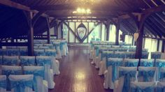 The lovely blackstock barn in Hellingly with our stunning dusky blue taffeta chair sashs