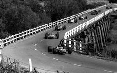 1968, Australian Grand Prix. Longford Circuit. Tasmania. The race was also part of the Tasman Series. Graham Hill leads at the point this picture was taken, but the was won by Jim Clark, driving a Lotus 49T.