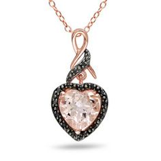 Image for Internet Exclusive.  Morganite and Enhanced Black Diamonds, Sterling Silver, Pink and Black Rhodium Plated Heart Pendant With C from SHOP.CA