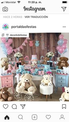 Gender Reveal Decorations, Baby Shower Decorations, Baby Shower Gender Reveal, Baby Gender, Teddy Bear Party, Gender Party, Festa Party, Reveal Parties, Baby Shower Printables