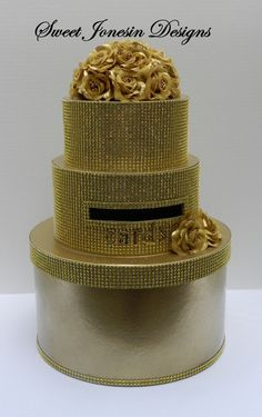 Gold Sparkling Card /Keepsake Box with Gold Rhinestone Mesh Ribbon and Gold Flowers with Rhinestone Centers